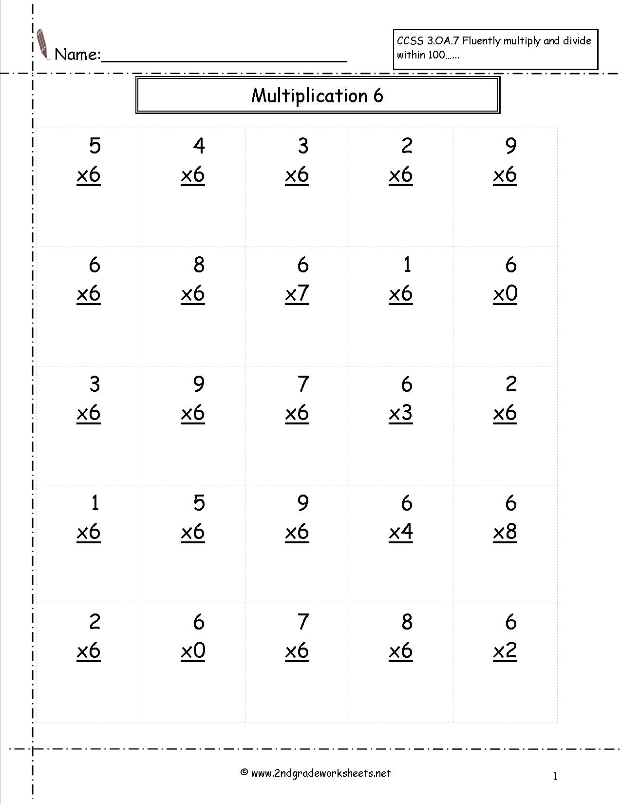 Free Printable 7 Multiplication Worksheets