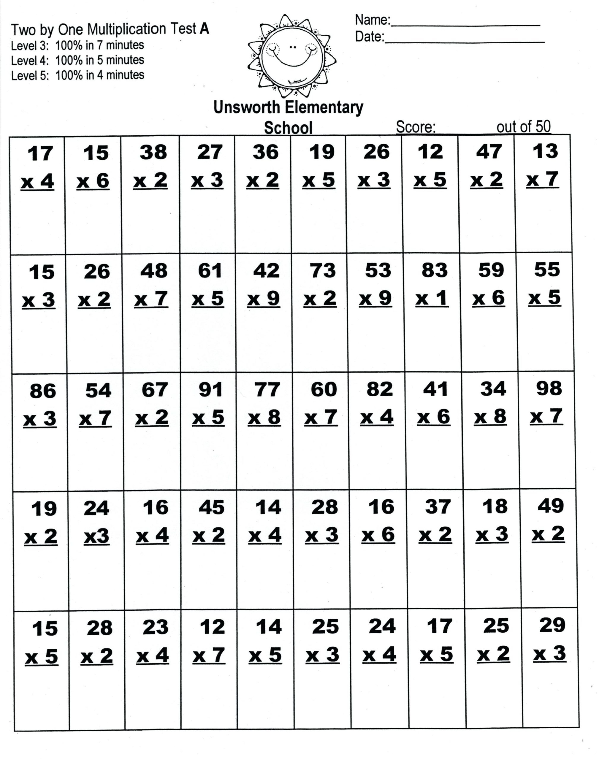 Printable Multiplication 2x2