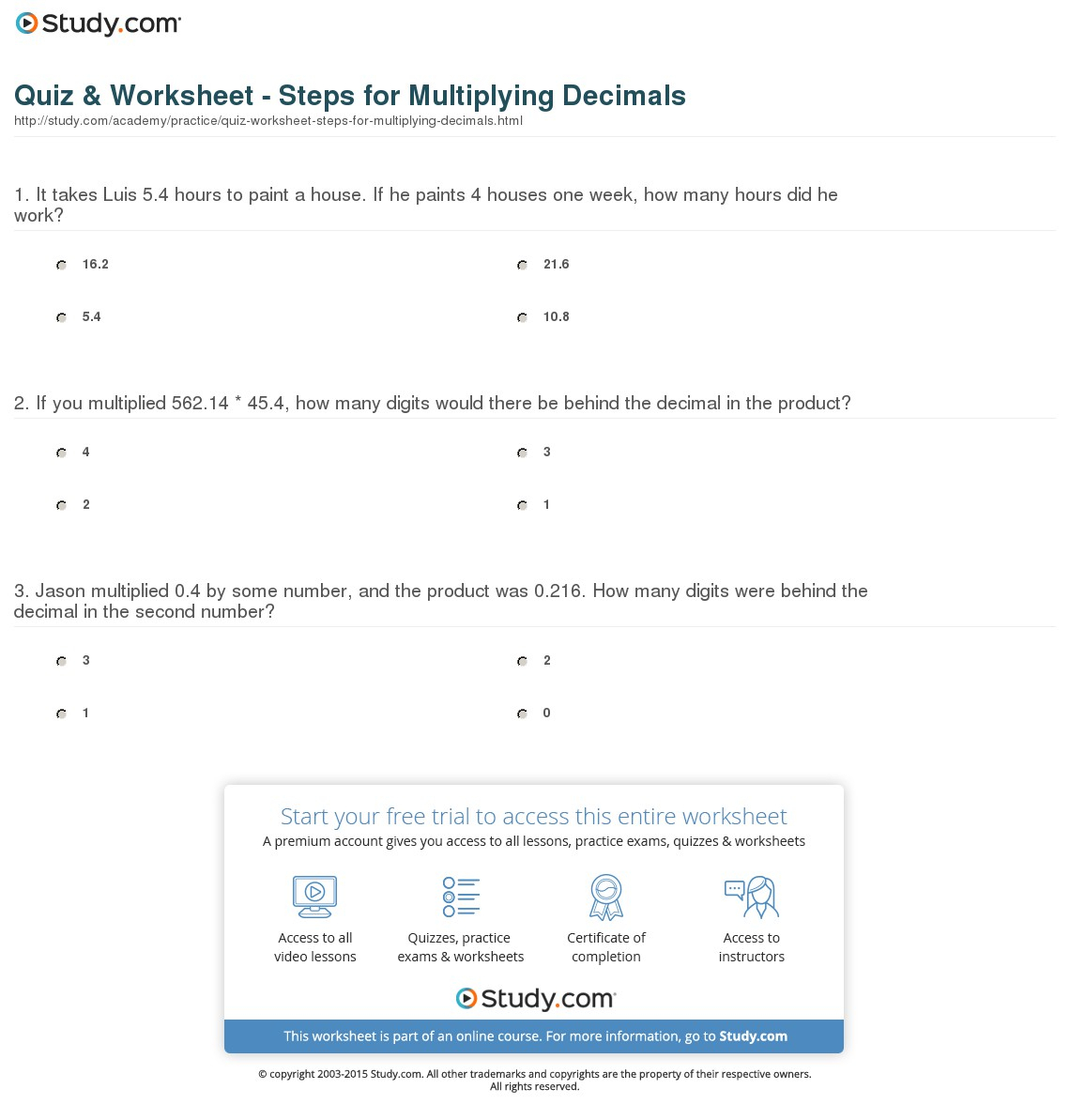 Worksheets Multiplication Of Decimals