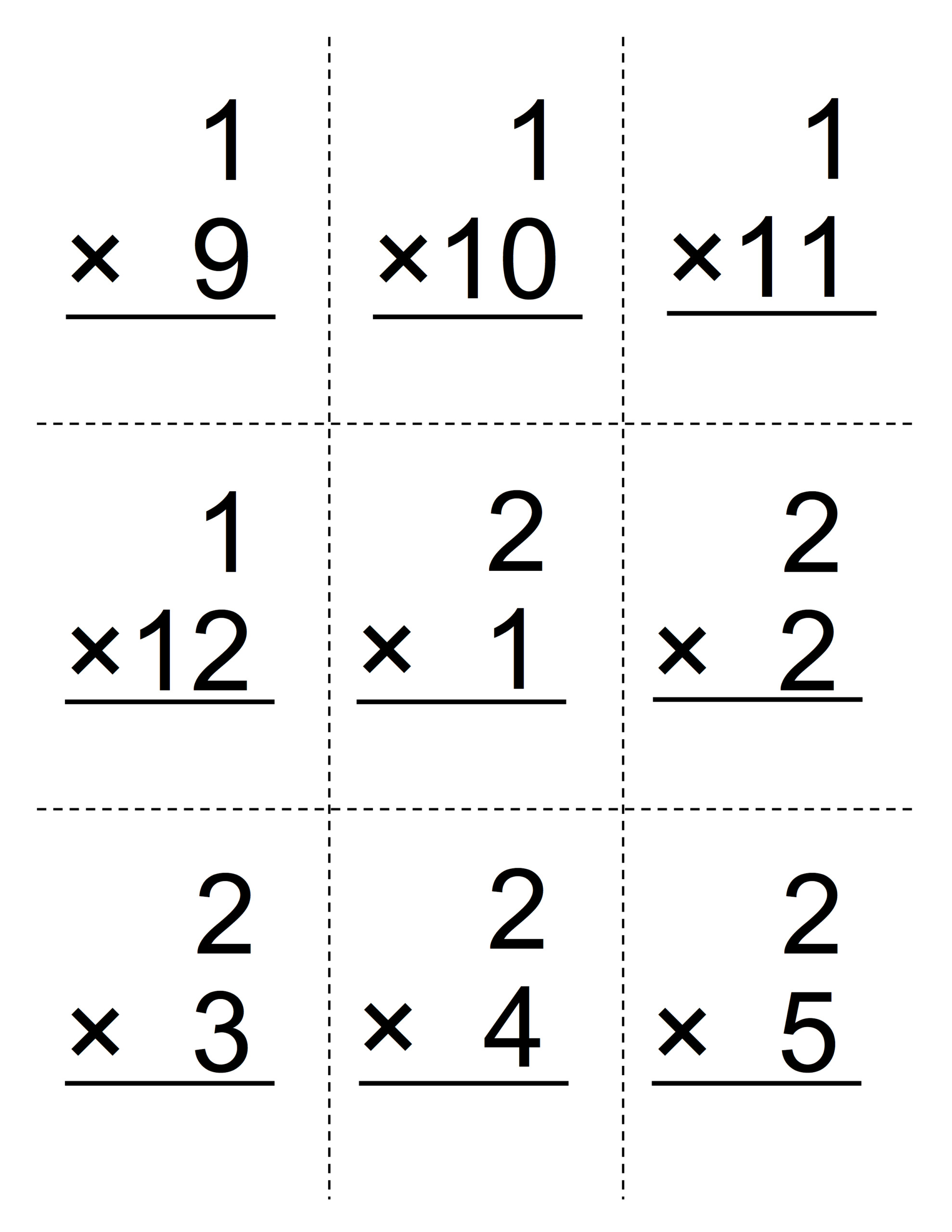 Printable Multiplication Flash Cards 0 9