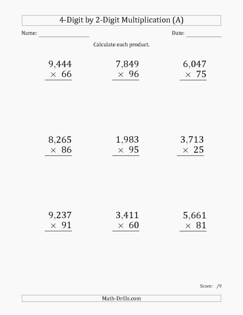 small resolution of Five Digit Multiplication Worksheets   Printable Worksheets and Activities  for Teachers