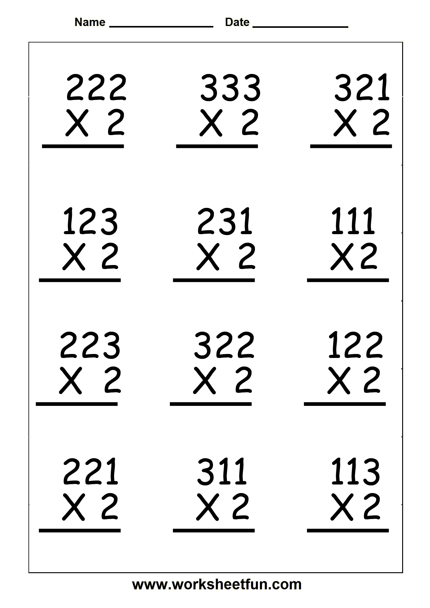 Multiplication Worksheets Double Digit