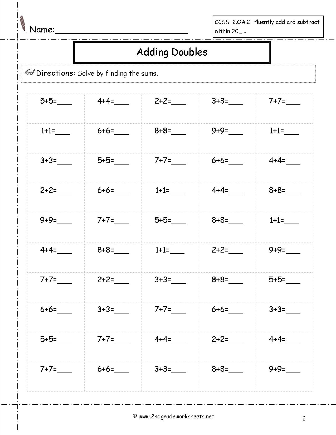 Printable Multiplication Facts Worksheets