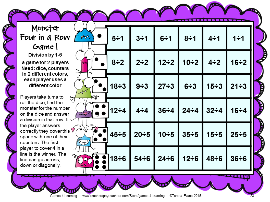Printable Multiplication And Division Games