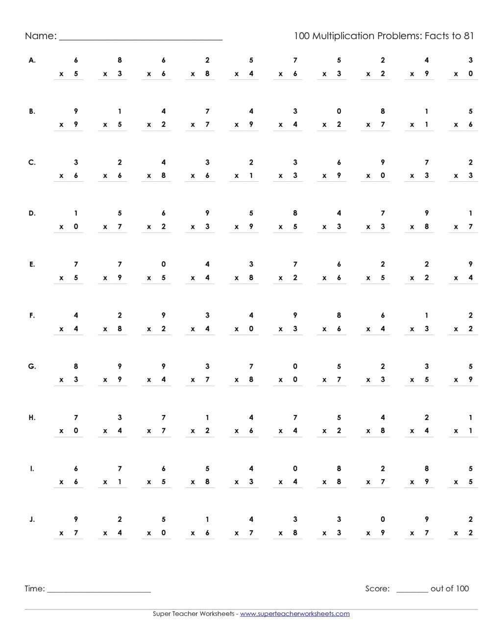 medium resolution of Timed Multiplication Worksheets 50 Problems   Printable Worksheets and  Activities for Teachers