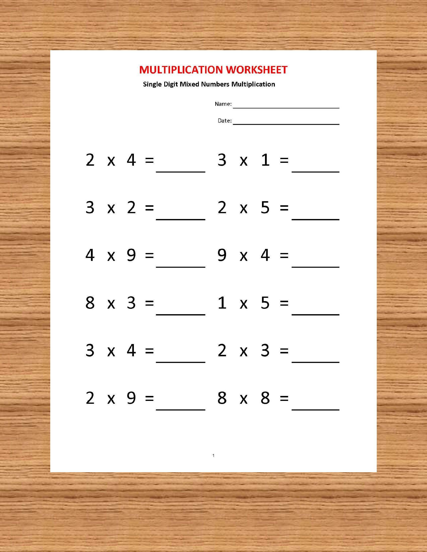 Worksheets On Multiplication For Grade 2