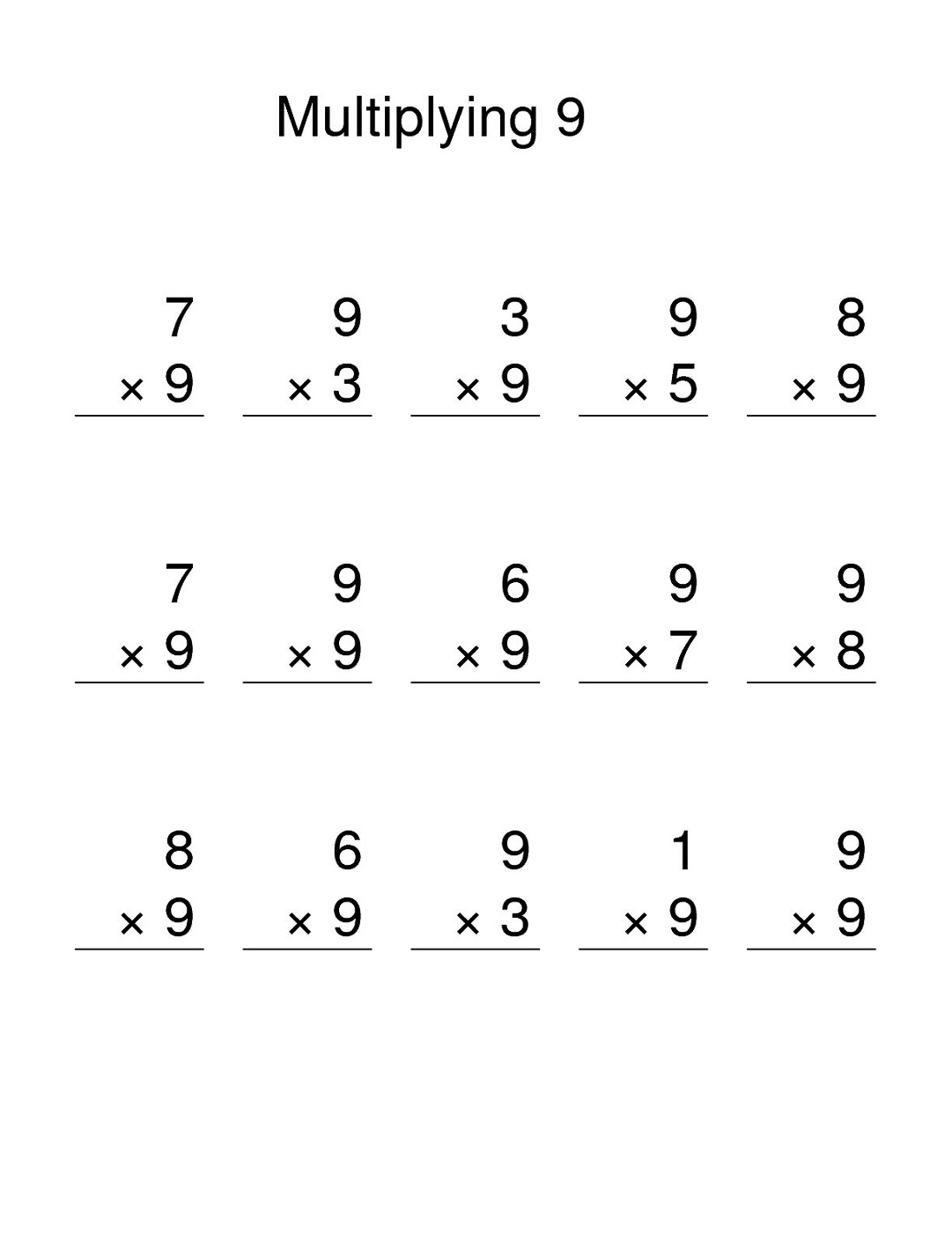 Multiplication Worksheets 6 9
