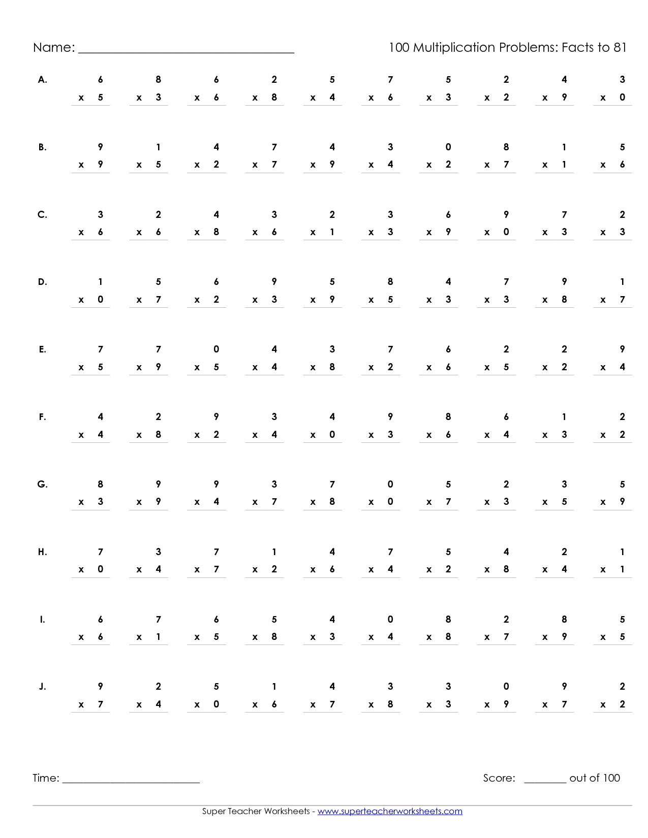 Multiplication Worksheets 5th Grade 100 Problems