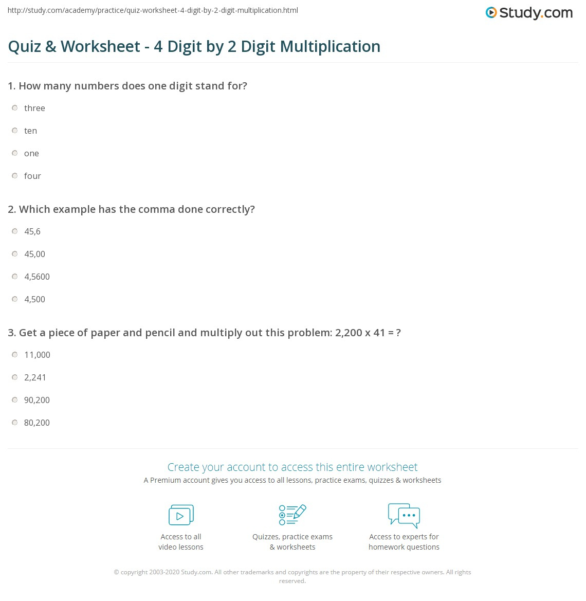 Multiplication Worksheets 4 Digit By 1 Digit