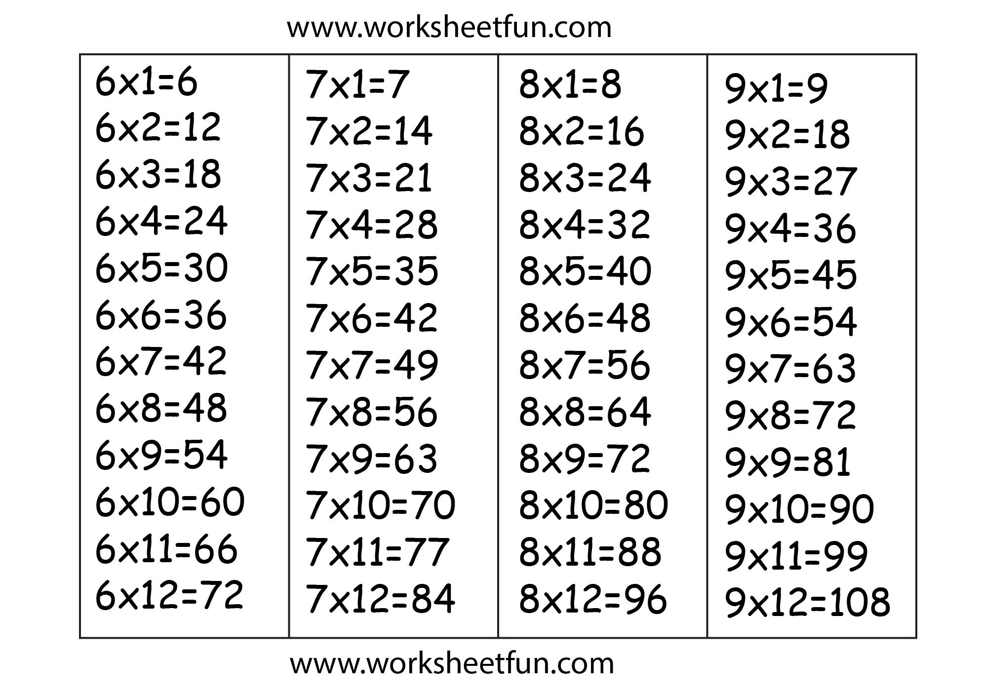 Multiplication Worksheets 6 7 8