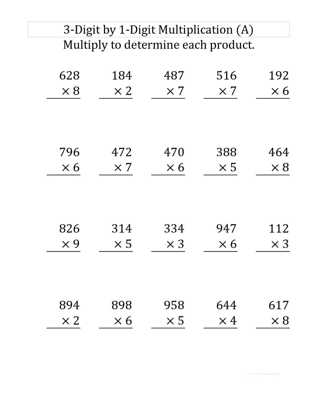 Printable Multiplication Sheets 4th Grade