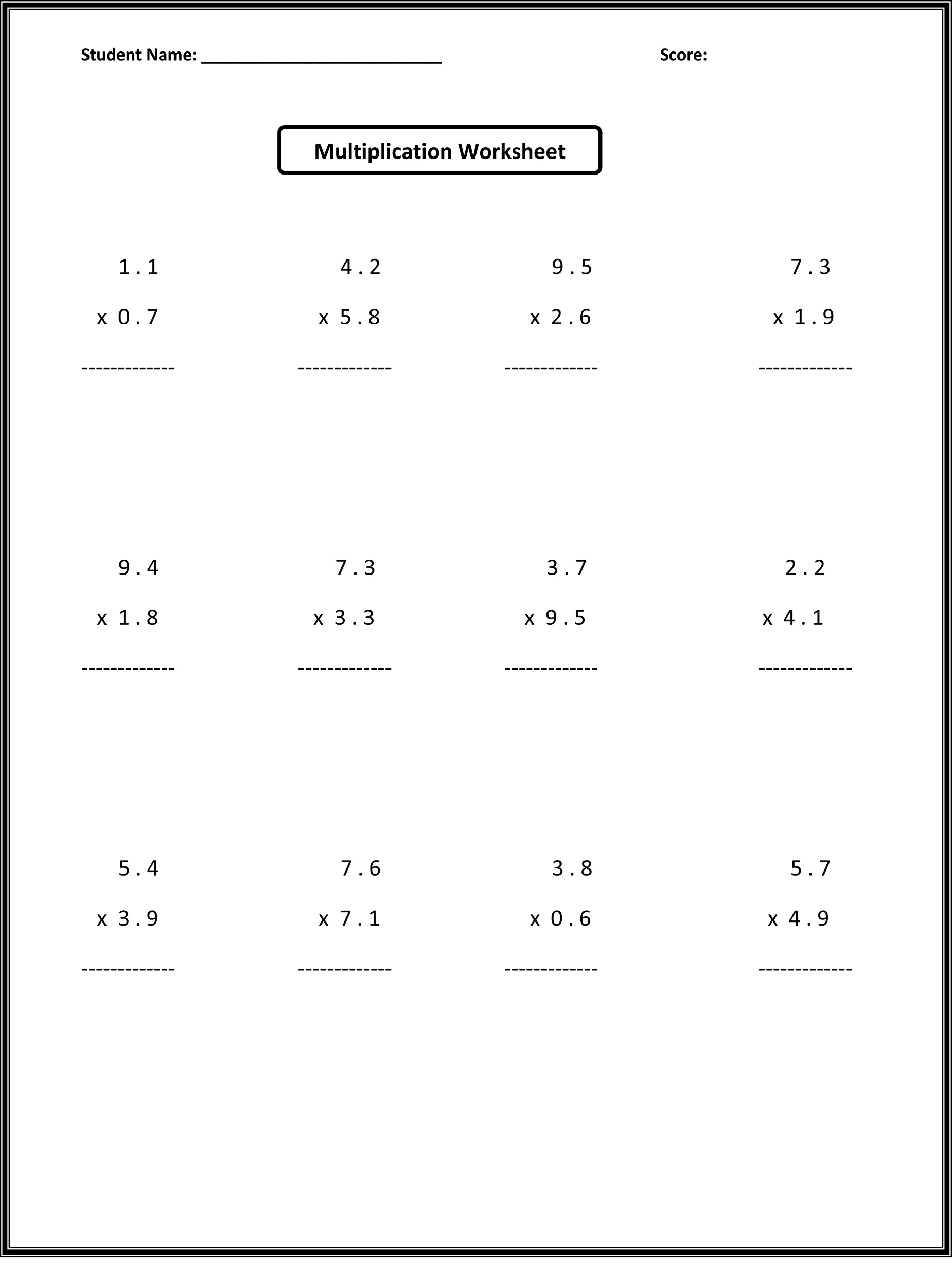 Multiplication Worksheets 6th Grade