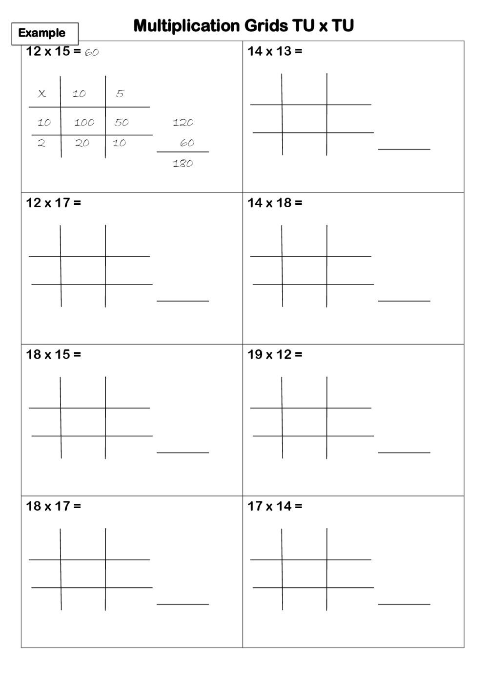 medium resolution of Lattice Method Worksheet   Printable Worksheets and Activities for  Teachers