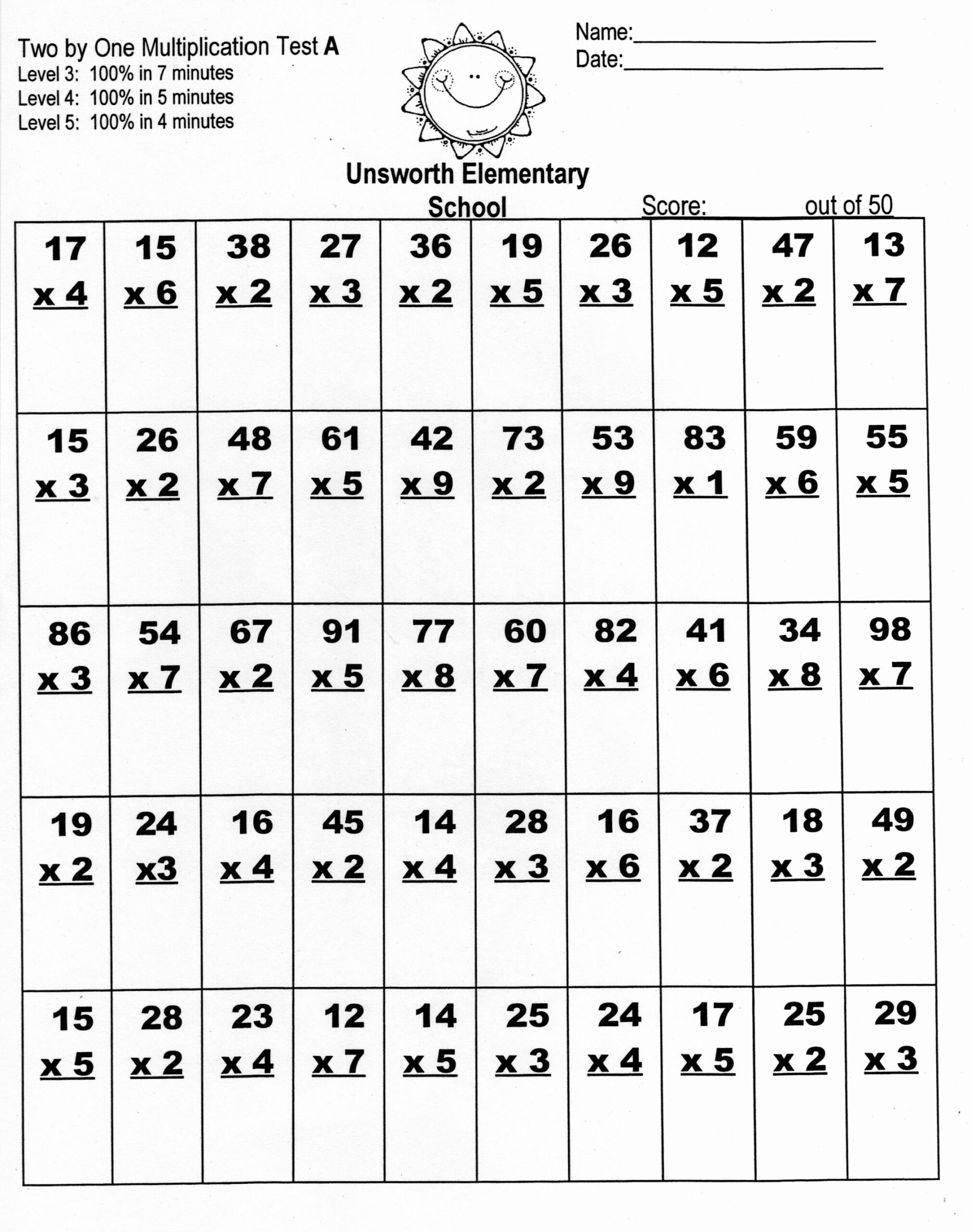 Multiplication Worksheets X2 X3