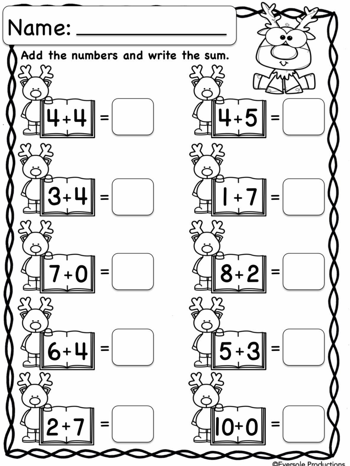 Christmas Math Addition Worksheets