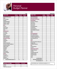 Budget Planner Worksheets