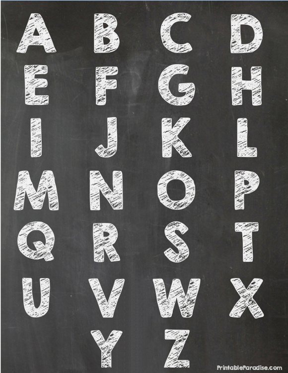 Printable Alphabet Letter On Chalkboard