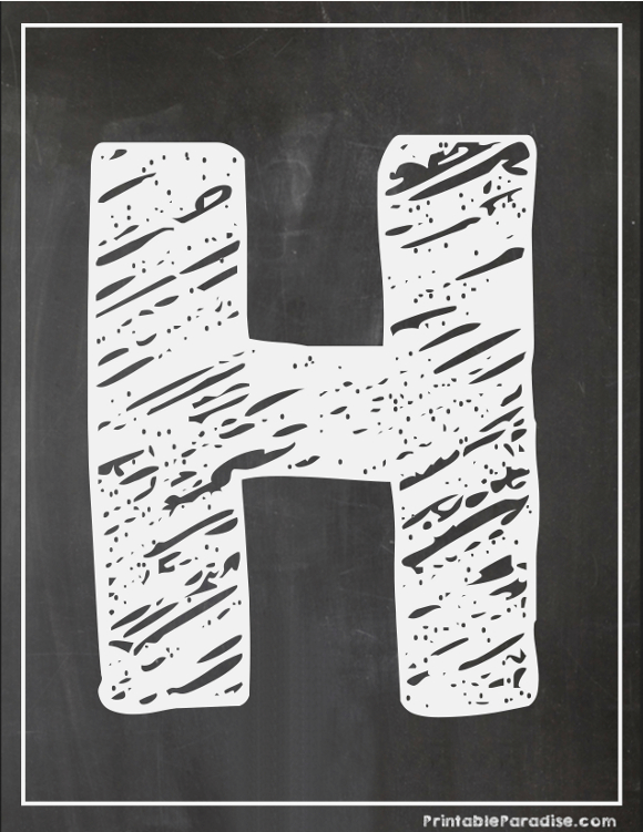 Printable Letter H Chalkboard Writing Print Chalky Letter H