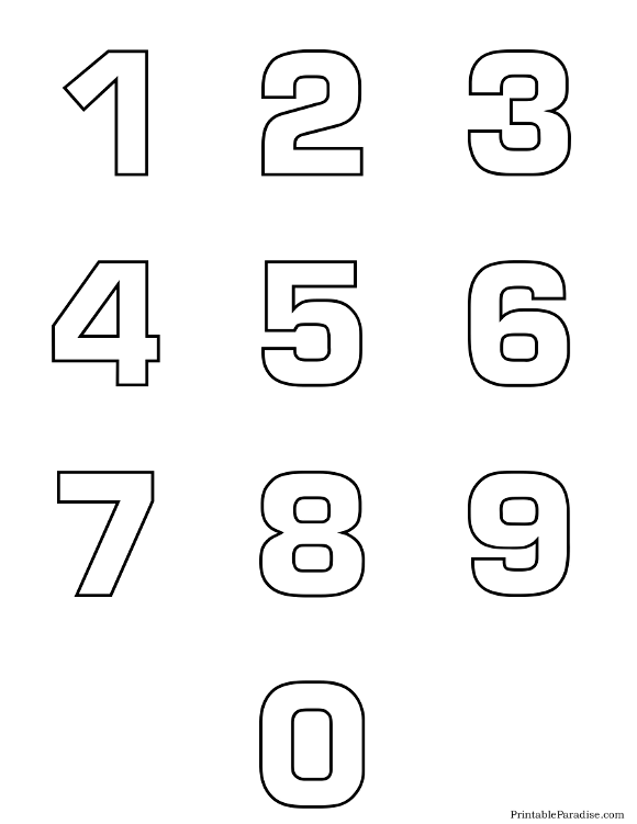 Printable Number Outlines 0-9 on One Page