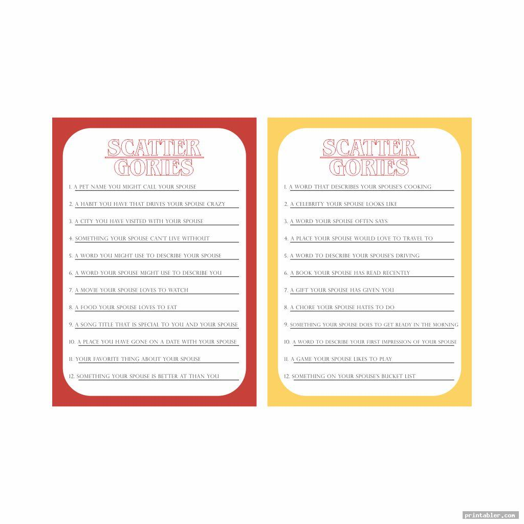 The Best Printable Scattergories Lists