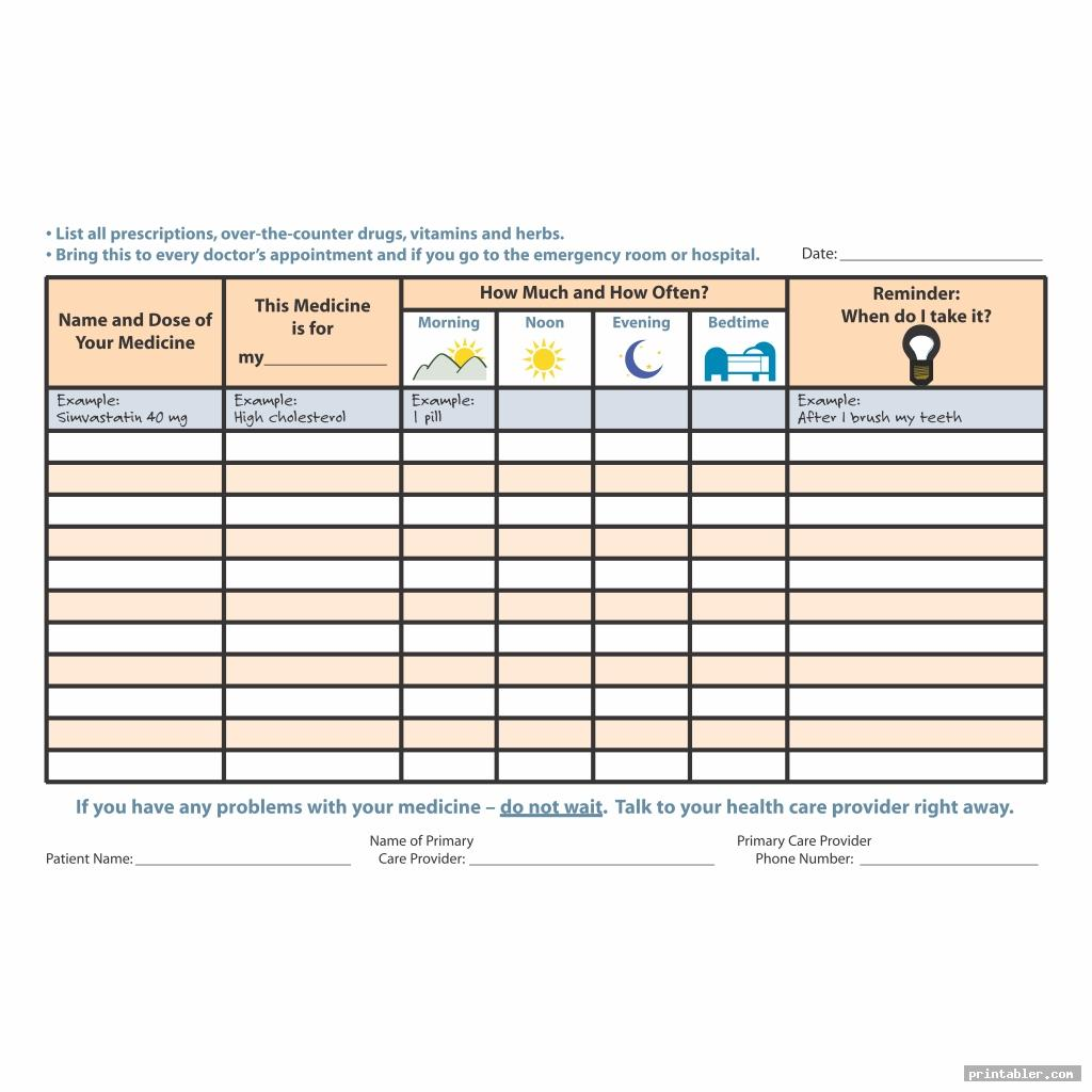 Printable Medication Log Sheets
