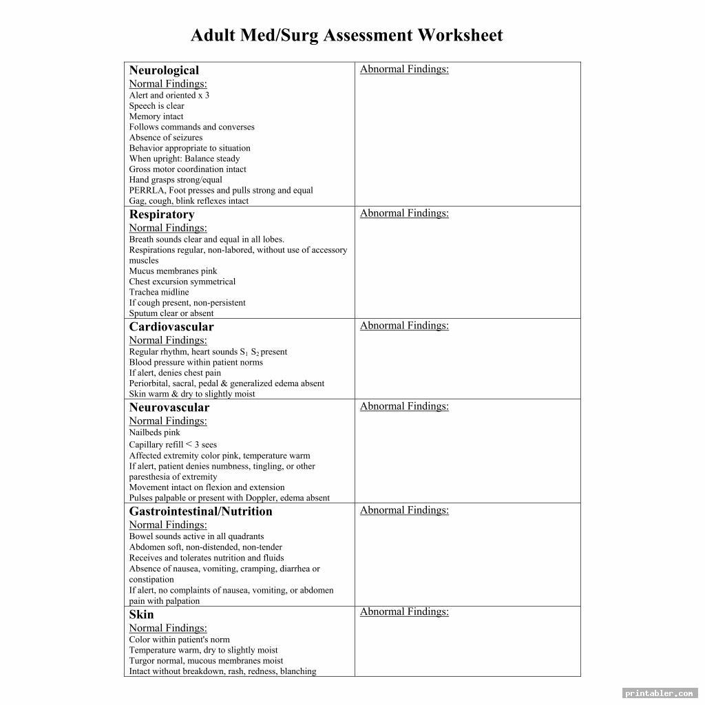 Med Surg Organization Sheet Printable