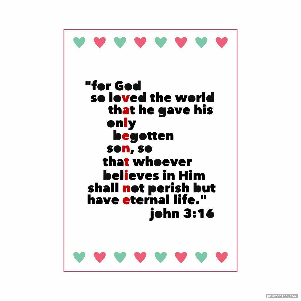 John 3 16 Valentine Printable Heart