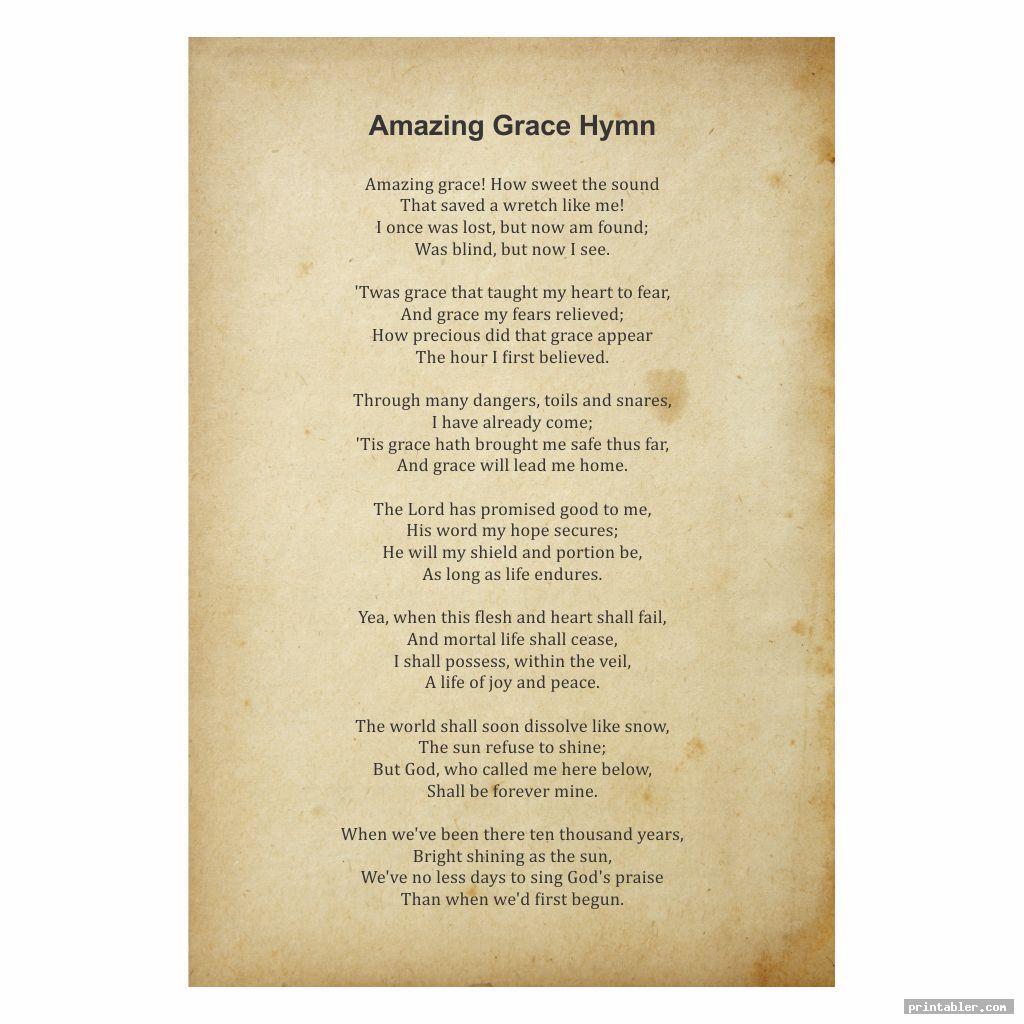 Amazing Grace Lyrics Printable