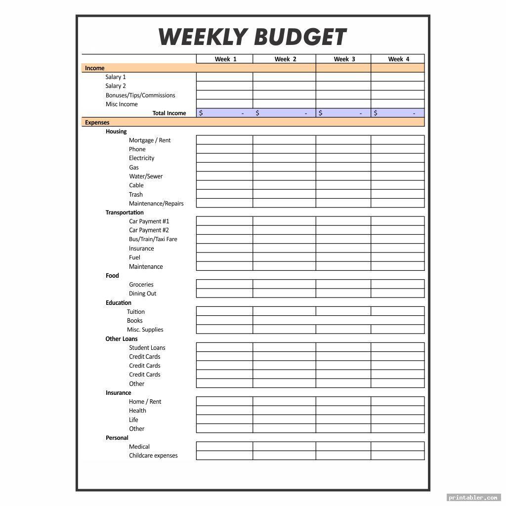 Weekly Budget Worksheet Printable