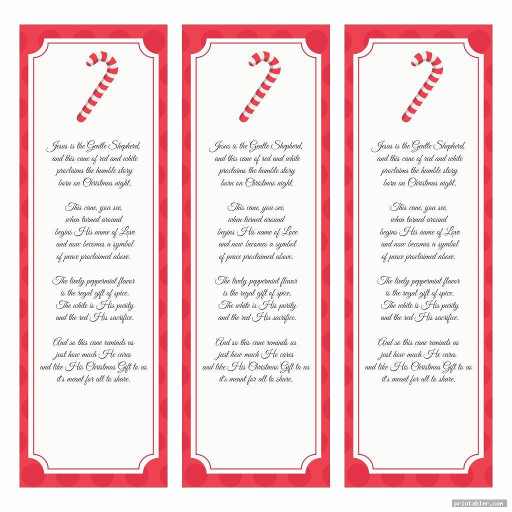 Legend Of The Candy Cane Bookmark Printable Printabler Com