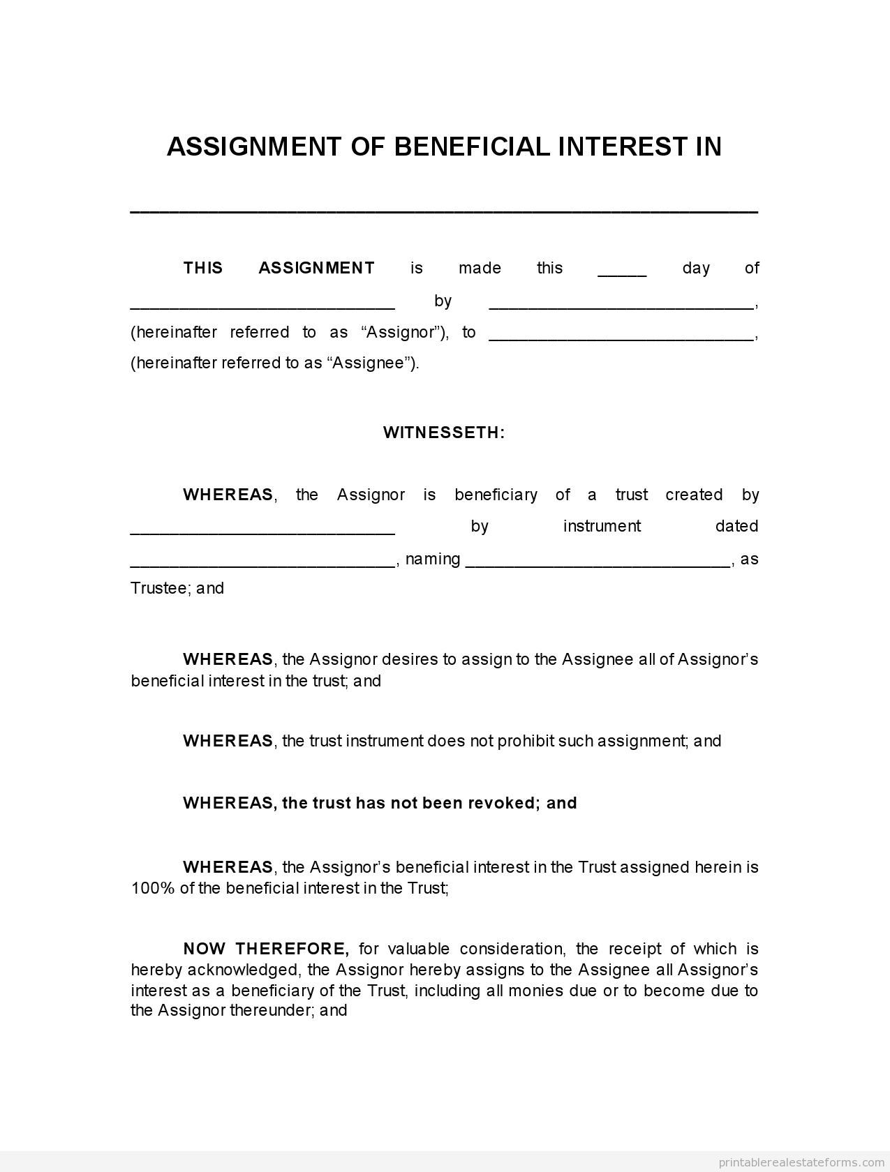 Printable Assignment Of Beneficial Interest In Trust