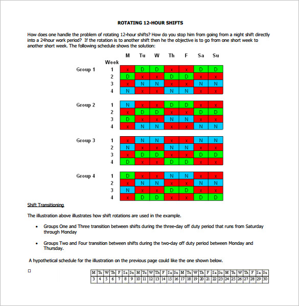 12 Hour Rotating Shift Schedule Calendar Printable Receipt Template