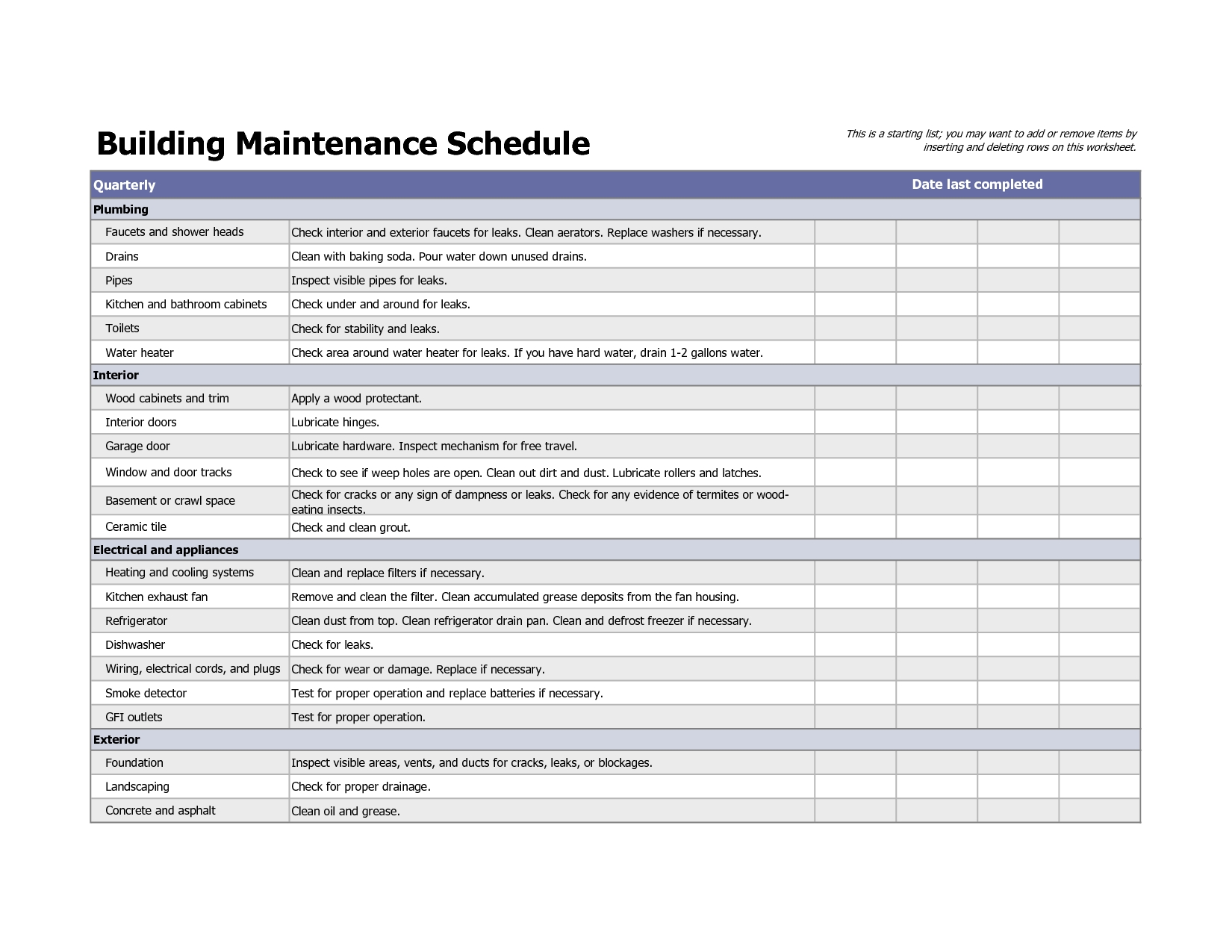 Building Maintenance Schedule Excel Template Printable