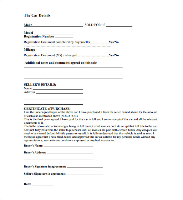 template for bill of sale for car