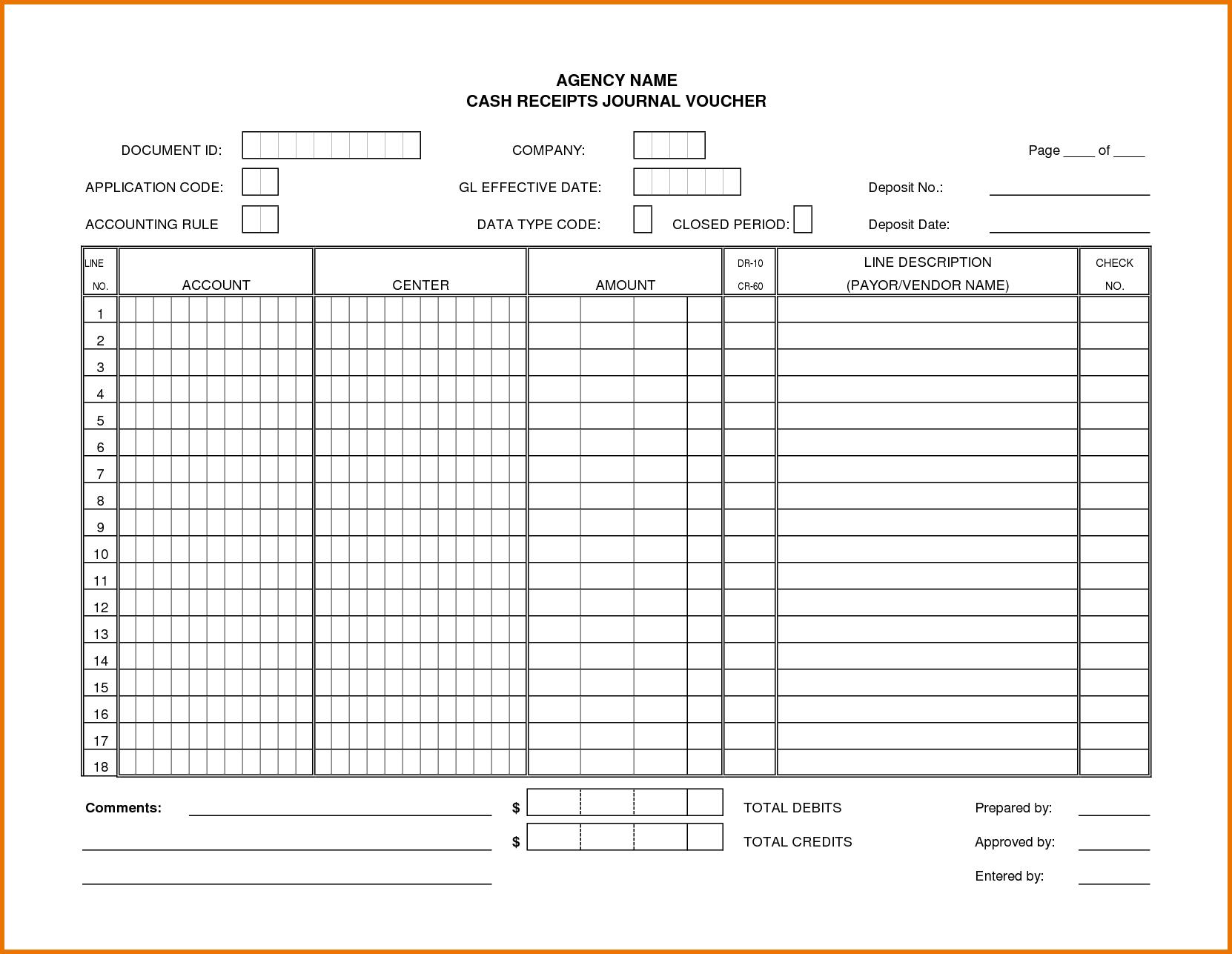 Cash Receipt Journal Template