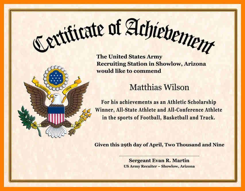 Certificate Of Achievement Wording Printable Receipt