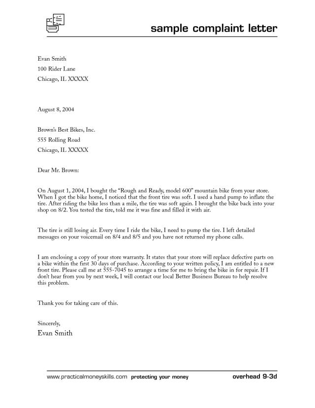 Help To Write Complaint Letter - Complaint Letter Format