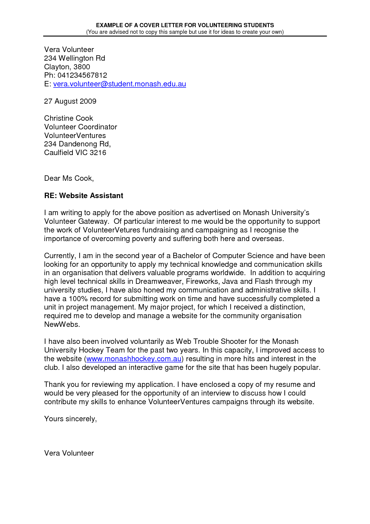 Cover Letter For Volunteer Work In Schools Printable