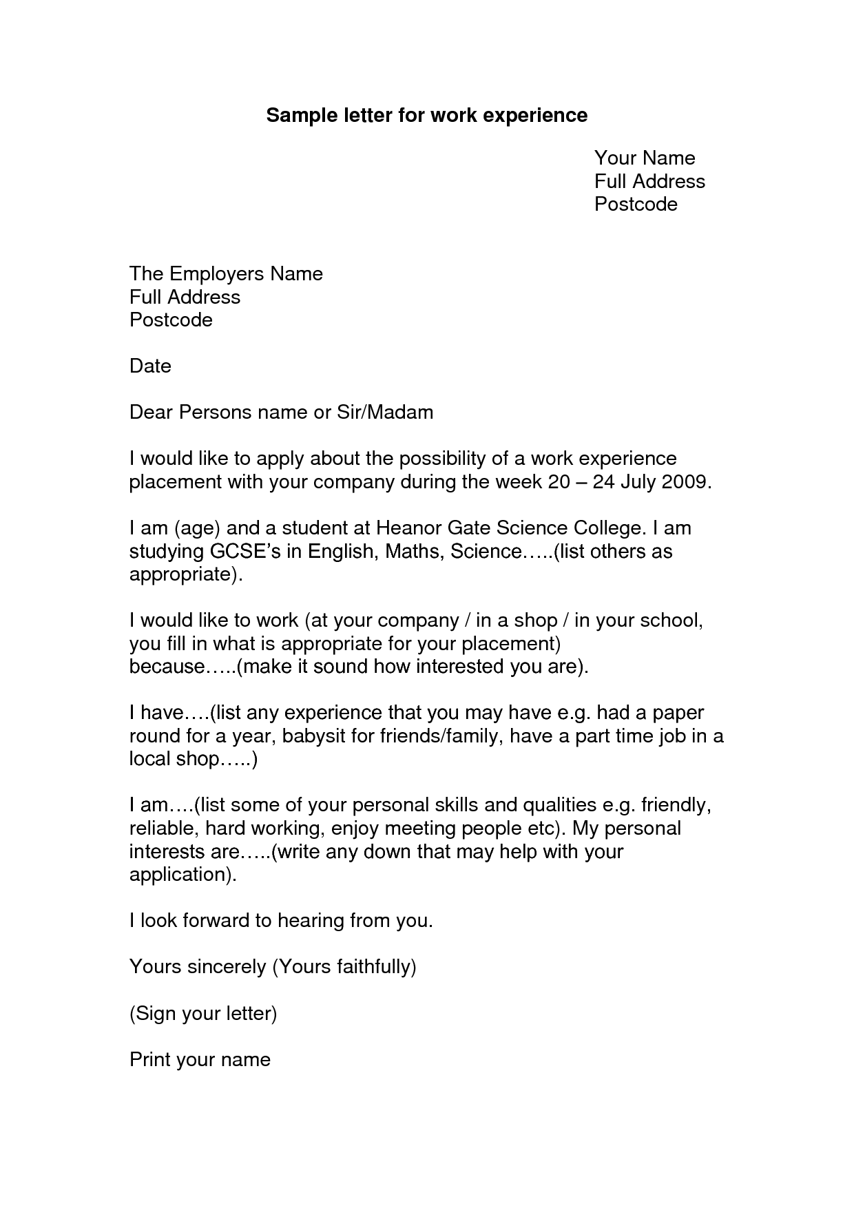 Cover Letter For Work Experience Placement  printable receipt template