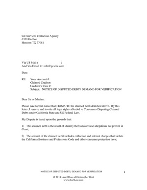 Credit Dispute Letter To Collection Agency Printable