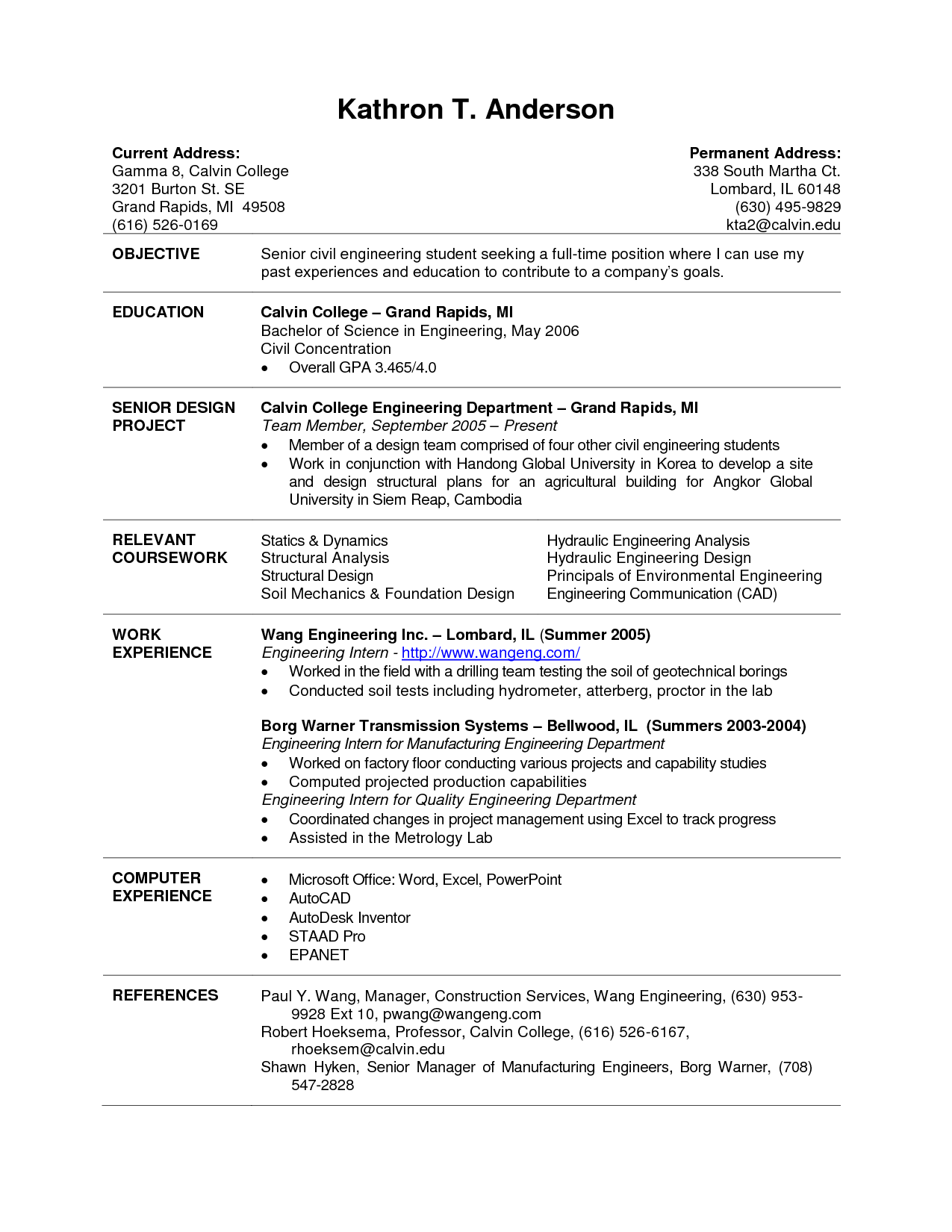 resume templates current graduate student