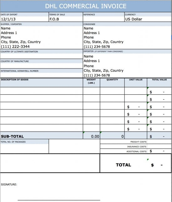 Dhl Commercial Invoice Template   printable receipt template