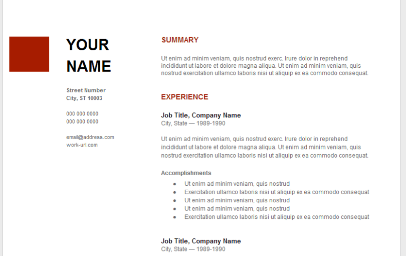 resume template google docs how