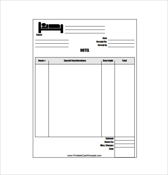 Hotel Receipt Template  printable receipt template