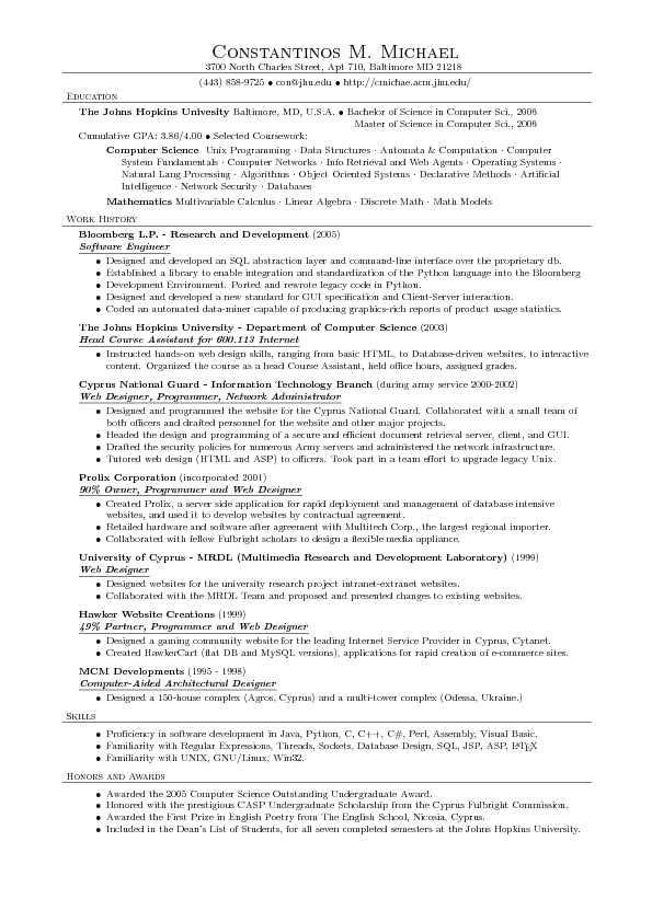latex resume computer science