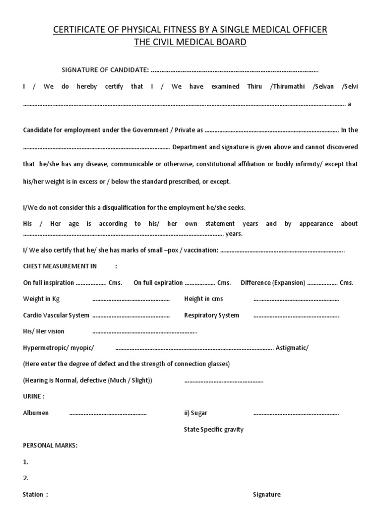 simple medical certificate format