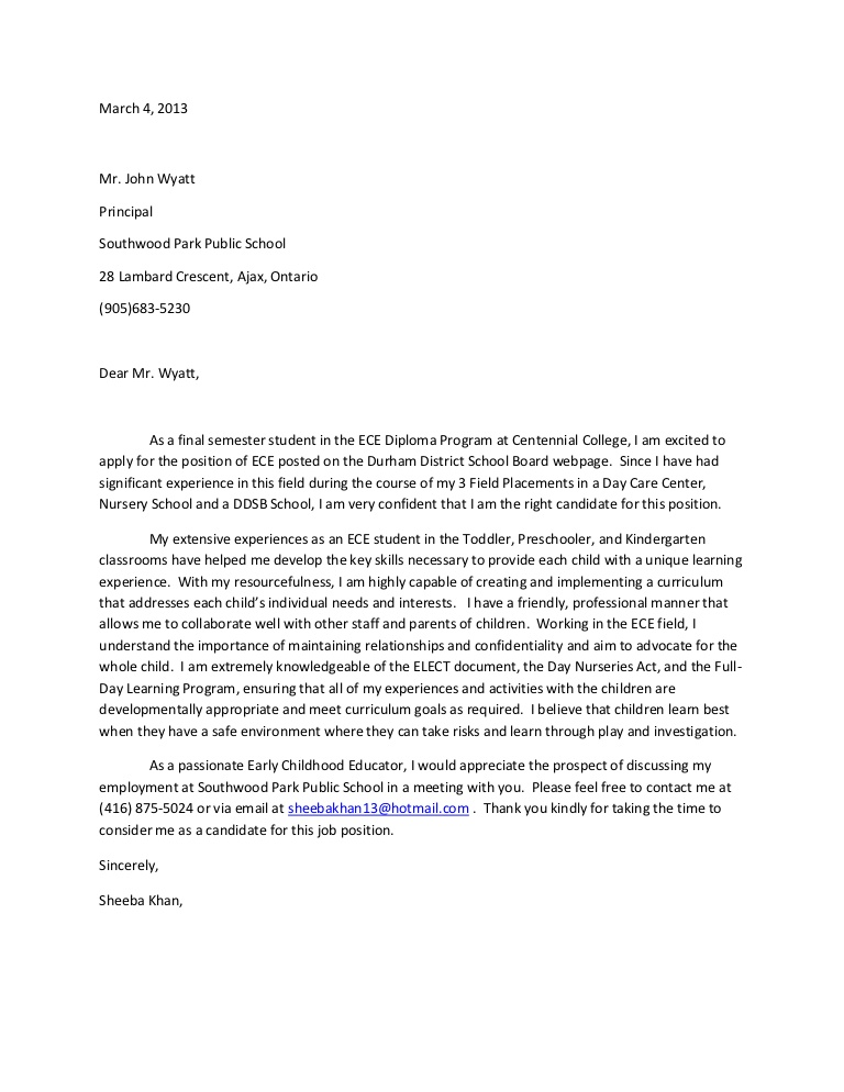 early childhood education cover letters