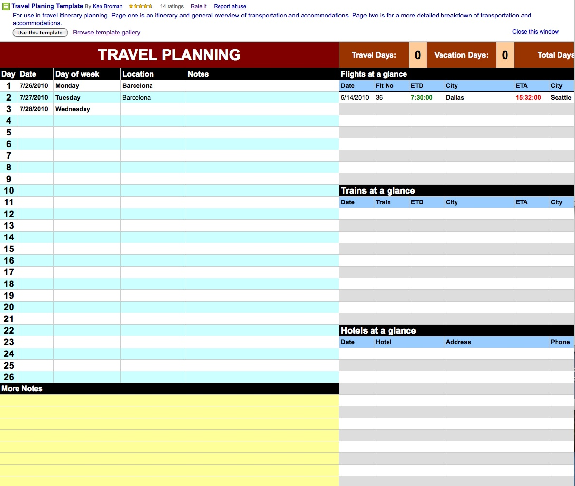 Travel Itinerary Template Docs Printable Receipt