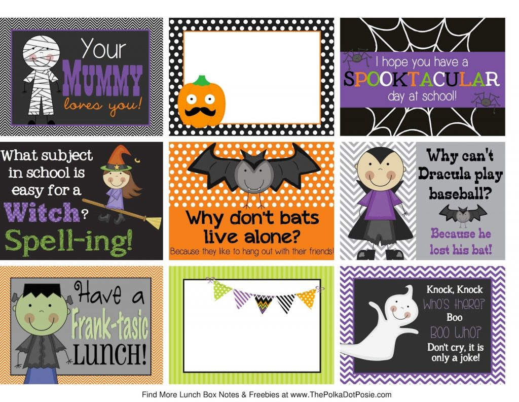 5 Sets Of Halloween Lunchbox Laughs