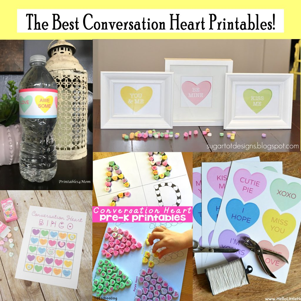 Printable Conversation Heart Art Set And Activities